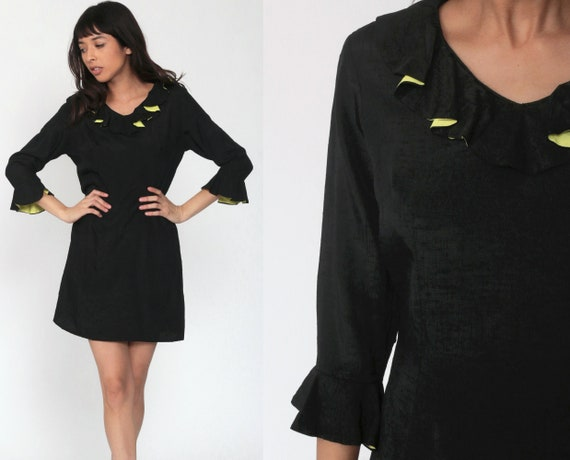 60s Mod Mini Dress Silk Party Dress Black Shift Ruffle Collar Formal Bell Sleeve Long Sleeve Goth Vintage 1960s Cocktail Party Gogo Small