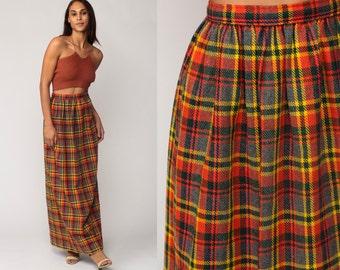 Plaid Maxi Skirt 70s Tartan School Girl 1970s High Waisted Long Skirt Vintage Preppy Kilt Checkered Red Orange Yellow Grey Small Medium