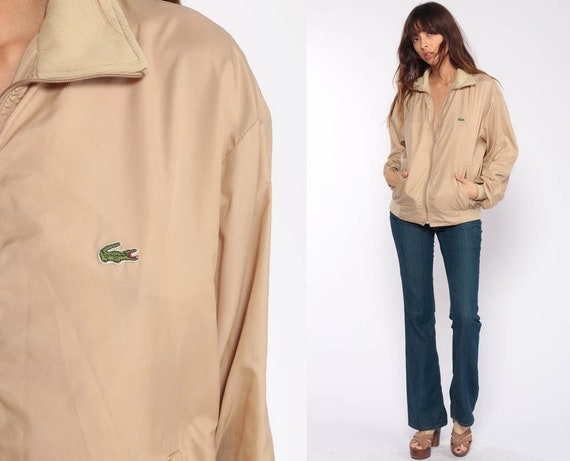 Lacoste Jacket 80s Windbreaker Bomber Jacket Tan Jacket Crocodile Zip Up Preppy Hipster Coat Vintage 1980s Large