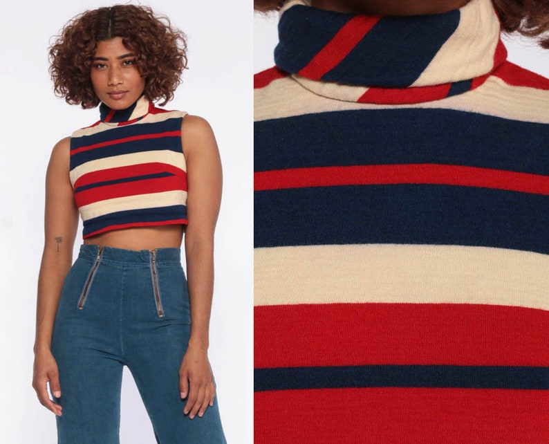 4892eaaed Striped Wool Crop Top Retro Shirt 70s Striped TURTLENECK Shirt | Etsy