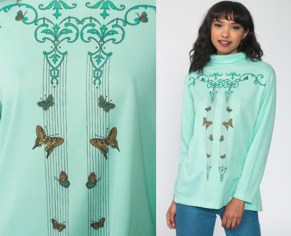 Butterfly Top Mint Long Sleeve Shirt Boho Blouse 70s Shirt Mod Green Hippie Shirt Turtleneck 1970s Vintage Bohemian Festival Medium Large