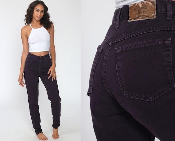 Purple Jeans 90s LONDON JEAN High Waisted Dark Purple Denim Jeans Tapered Leg Mom Jeans 1990s Vintage Retro Size 4 Small