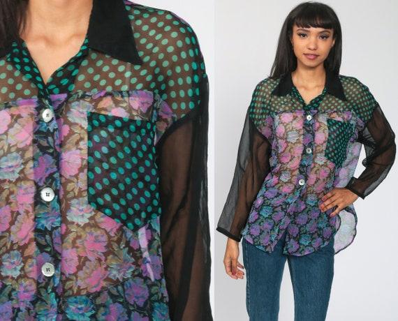 Sheer Chiffon Blouse 90s Grunge Floral Top Black Flower Print Button Up Shirt Romantic Vintage Long Sleeve Bohemian Extra Large xl