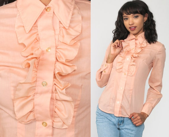 Peach Ruffle Blouse 70s TUXEDO Shirt Button Up Top Victorian Pastel Pink Shirt Party Top Vintage Long Sleeve Secretary Extra Small xs