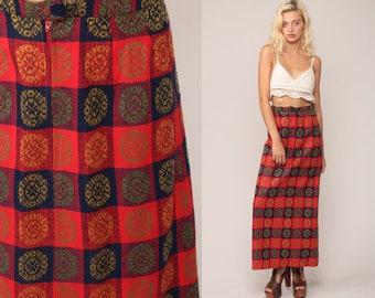 Long Wool Skirt 70s Maxi Skirt Tartan School Girl Checkered Print Boho Plaid 1970s High Waisted Vintage Preppy Red Blue Small