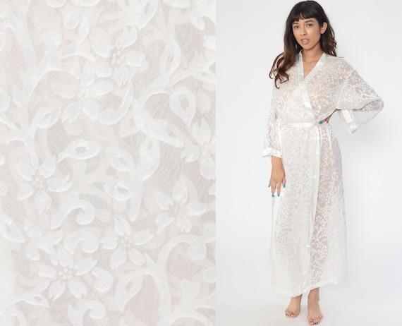 Sheer White Robe Oscar De La Renta Lingerie Robe Jacket 00s Kimono Robe SHEER Lingerie Floral WRAP Dressing Gown Vintage Large