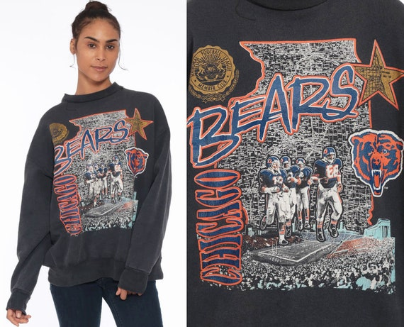 90s Chicago Bears Sweatshirt --  Football Sweatshirt Graphic 1990s Sweater Black Oversized Sweater Football 80s Sportswear Extra Large xl l