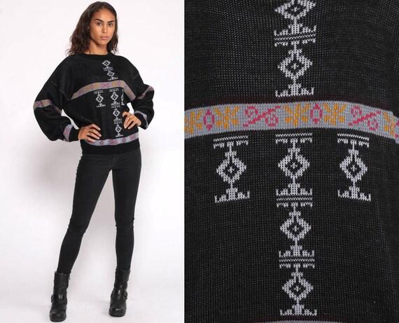 Tribal Sweater 80s Boho Aztec Geometric Print Grunge Slouchy 1980s Bohemian Vintage Pullover Jumper Knit Abstract Black Medium Large