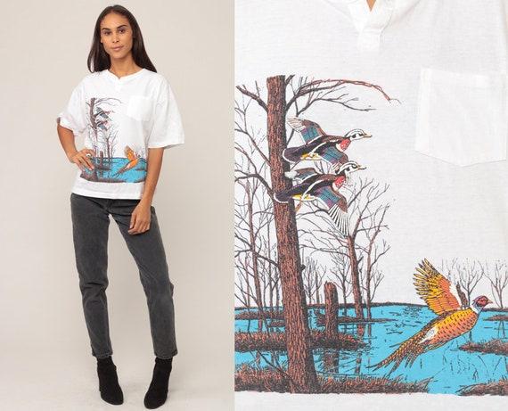 Duck Shirt 90s Bird TShirt PHEASANT Vintage Retro T Shirt Graphic Tee Wilderness Screen Print 80s t shirt Animal Shirt Extra Large xl