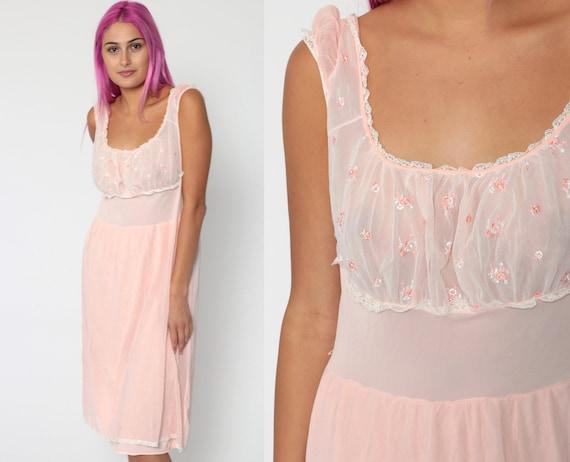 Pastel Lingerie Nightgown Shelf Bust Slip Dress 70s Baby Pink Sheer Babydoll Midi Bohemian 1970s Vintage Peasant Boho Empire Waist Medium