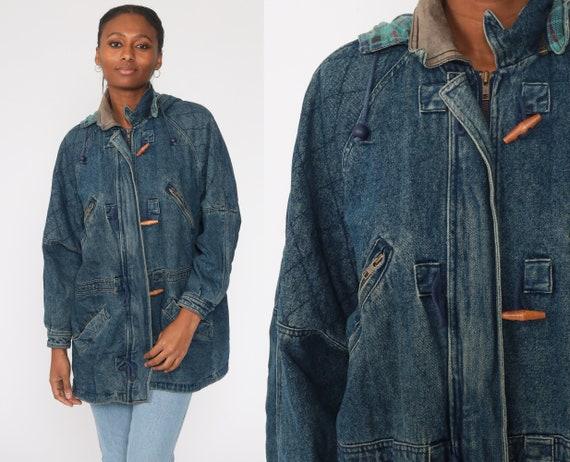 Hooded Jean Jacket Denim Duffle Jacket Grunge Jacket 80s Jean Hoodie Coat Hood 1980s Vintage Duffel Medium Large