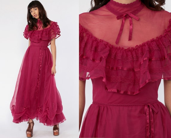 Magenta Victorian Dress 70s Sheer LACE High Collar Party Illusion Neckline Boho Maxi 1970s Bohemian Vintage Southern Belle Extra Small xs