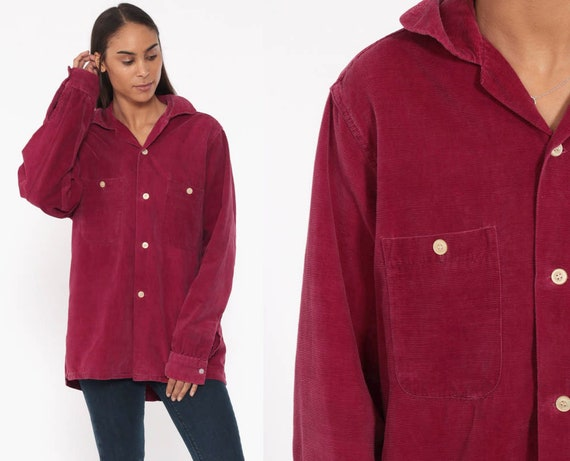 70s Corduroy Shirt Soft BURGUNDY Shirt Campus Button Up Red Shirt Oxford Top Over Shirt 1970s Vintage Long Sleeve Oversized Medium