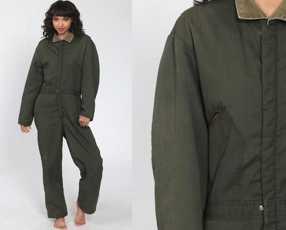 Quilted Coveralls Pants Work Boilersuit Olive Green Workwear 80s Insulated Long Sleeve Work Outfit Corduroy Collar Vintage Small Medium