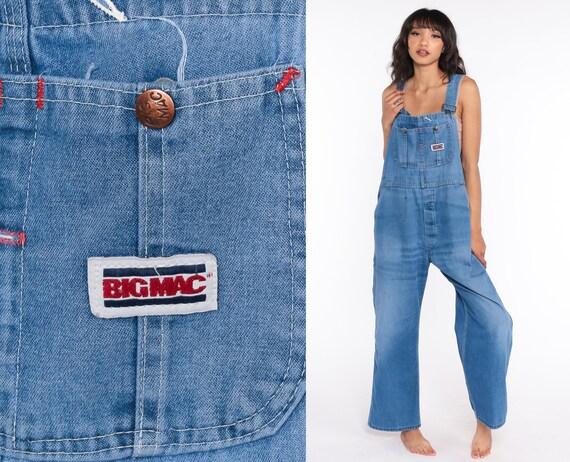 Big Mac Overalls Pants Jeans 80s Denim Bib Overalls Pants Baggy Overalls Blue Long Jean Dungarees Workwear 1980s Vintage Work Medium Large