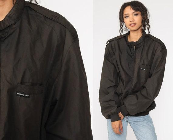 Black Members Only Jacket 80s Black Bomber Windbreaker Cafe Racer Moto Hipster Epaulette Coat Vintage 1980s Lightweight Large xl l