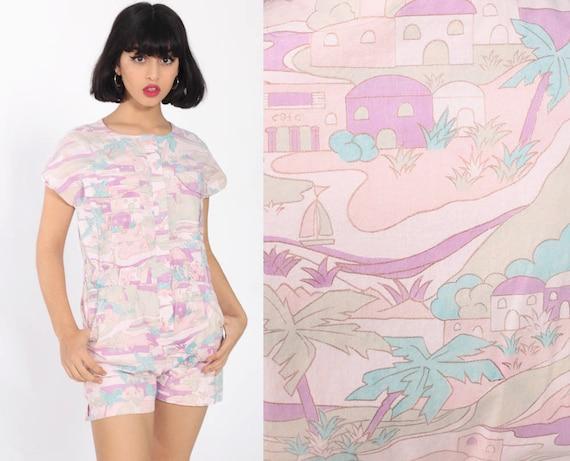 Tropical Romper Playsuit Pastel Pink Village Print One Piece 80s Button Up Vintage Jumpsuit Shorts 1980s High Waist Cotton Small Medium
