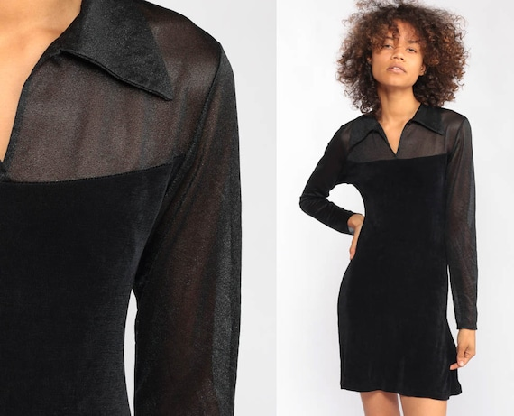 Black Mini Dress 90s Party lbd Party SHEER SLEEVE Vintage Cocktail Long Sleeve 1990s Gothic Extra Small xs s