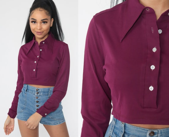 Purple Crop Top 70s Cropped Shirt Polyester Bohemian Retro 1970s Hippie Long Sleeve Polo Button Up Plain Small