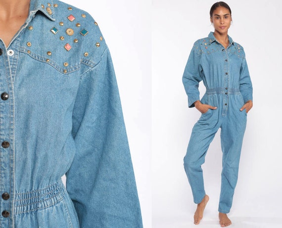 Beaded Denim Jumpsuit 80s IDEAS Tapered Pants Studded Jean Romper Pantsuit Vintage Long Sleeve Onesie High Waist Blue Overalls Small