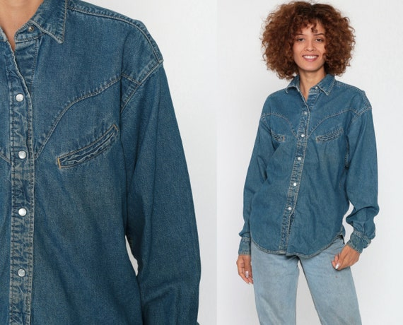 Denim Shirt 90s Western Jean Pearl Snap Grunge Blue 1990s Top Long Sleeve Button Up Vintage Extra Small xs s