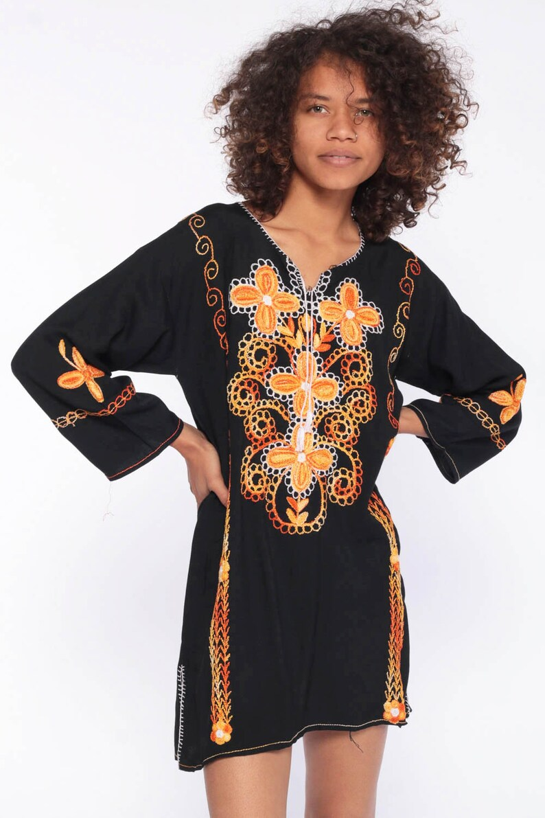 Floral Embroidered Blouse Floral Ethnic Black Hippie Shirt Tunic Top Boho Indian 1970s Bohemian Festival Long Sleeve Extra Small xs