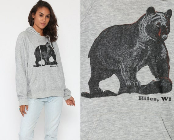 Bear Hoodie Sweatshirt 80s Hiles Wisconsin Shirt Grey Shirt 80s Hooded Gray Hoodie Animal 1980s Vintage Jumper Hood Black Bear Small Medium