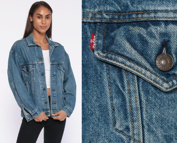 Levis Denim Jacket xs -- 90s Trucker Jean Jacket USA 80s Denim Jacket Blue Levis Coat 1980s Vintage Grunge Biker Extra Small XS