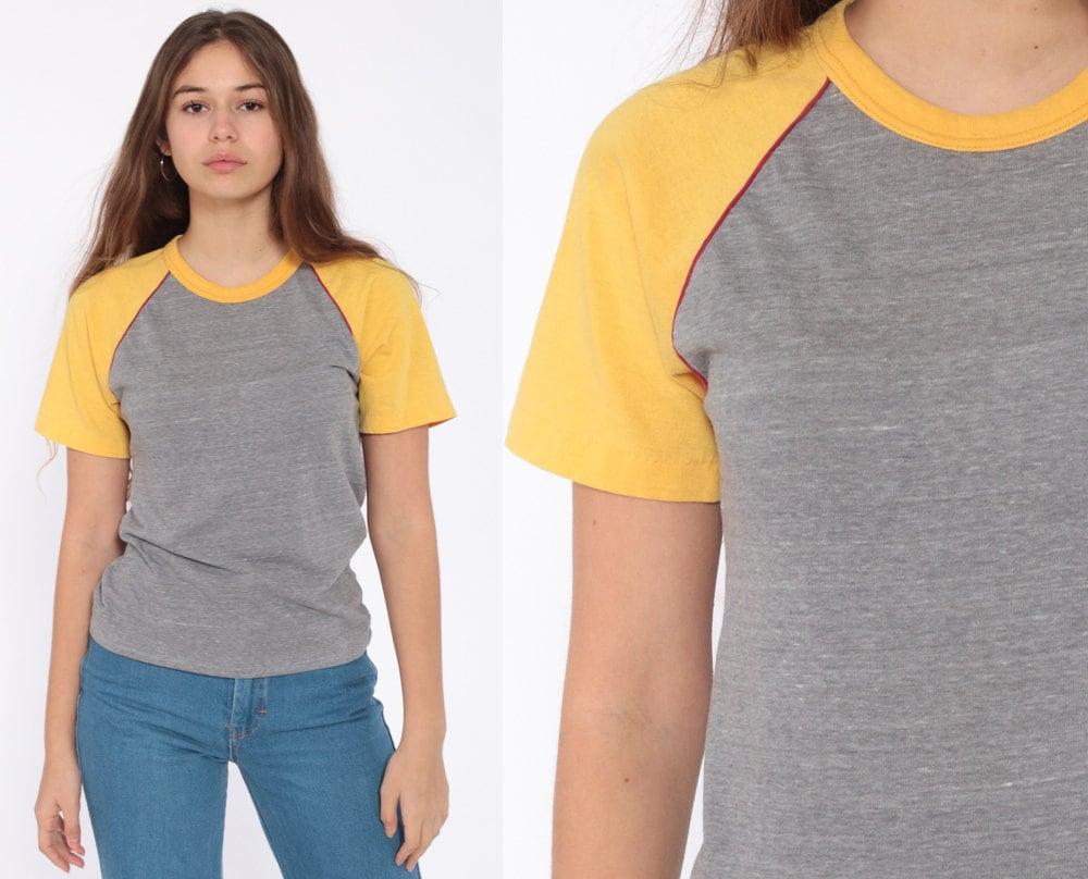 473ae617362 Grey Ringer Tee Shirt 80s T Shirt Baseball Tee Yellow Retro Tee Raglan  Sleeve Striped TShirt Sports Vintage Small Medium
