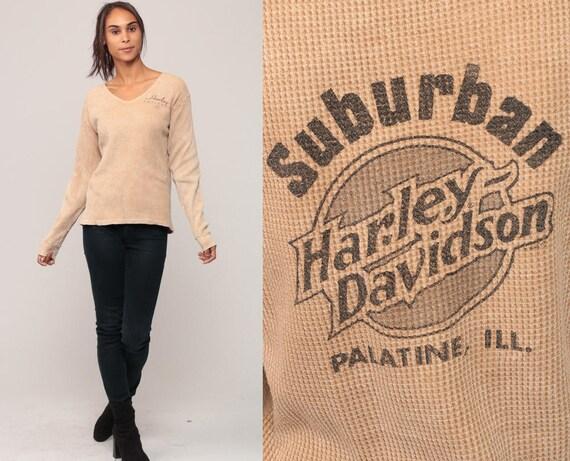 Harley Davidson Shirt 90s SUBURBAN HARLEY Biker Shirt THERMAL Waffle Knit Motorcycle T Shirt Vintage Long Sleeve Tshirt Medium