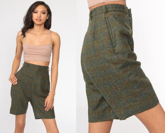 60s Wool Shorts Plaid Shorts Grey Olive Dark Academia Shorts High Waisted Retro 1960s Vintage Preppy Checkered Print Extra Small xs