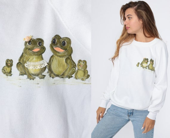 Hand Painted Frog Sweatshirt 80s Animal Vintage Raglan Sleeve Graphic Novelty Print Kawaii 1980s Medium