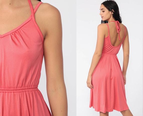 Pink Grecian Dress 1970s Strappy Disco Dress Halter Bohemian Midi 70s Boho Party Spaghetti Strap Vintage High Waisted Sexy Small Medium