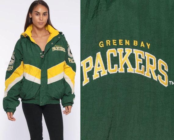 Green Bay PACKERS Jacket -- STARTER NFL Hoodie Jacket 90s Streetwear Jacket Hooded Football Sports Vintage Retro Small Medium