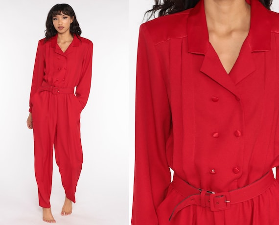 80s Jumpsuit Double Breasted Plain Red Red Tapered Pant Button Up High Waisted 90s Vintage Pantsuit Long Sleeve Medium