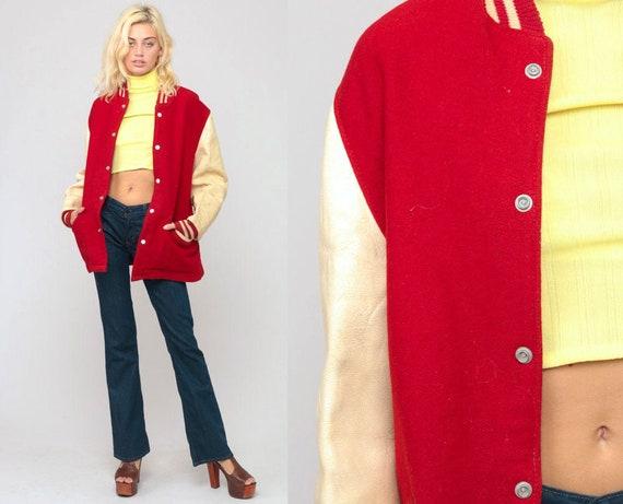 Varsity Jacket WOOL Jacket 80s Football Jacket Bomber Baseball Coat Letterman Sports Red Hipster 1980s Vintage Rockabilly Retro Large