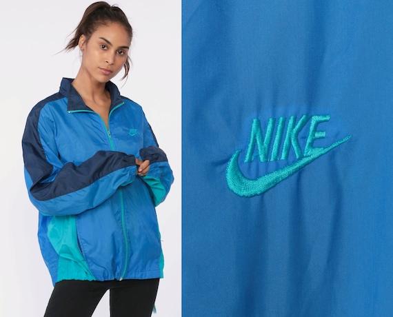 Blue Nike Windbreaker Jacket 90s Color Block Nylon Shell Zip Jacket Striped Streetwear Warmup Vintage 1990s Retro Sports Large xl