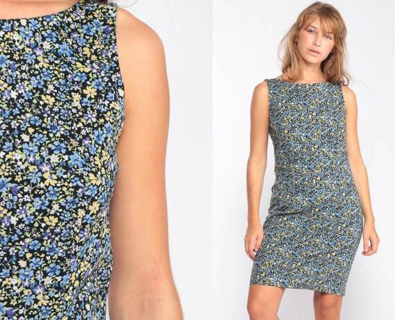 Floral Mini Dress 90s Sundress Grunge Hippie Sun Dress V-BACK Dress 1990s Bohemian Vintage Sheath Boho Sleeveless Blue Summer Small Medium