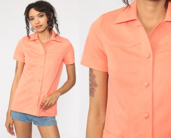 70s Button Up Shirt Orange Disco 1970s Dagger Collar Cargo Pocket Shirt Vintage Long Sleeve Retro Plain Small S