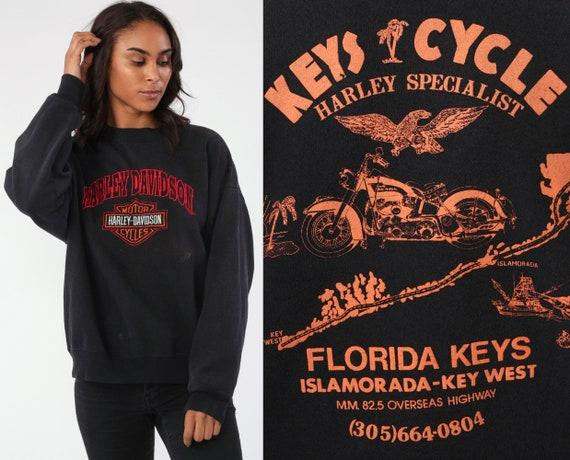 Harley Davidson Sweatshirt 90s Biker Shirt Florida Keys Motorcycle Vintage Black Graphic Retro Grunge HD Harley Crewneck 1990s Medium Large