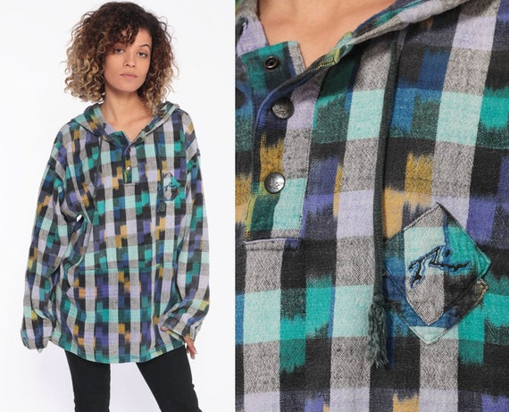 1990s Plaid Hooded Shirt -- 90s Sweatshirt Pullove