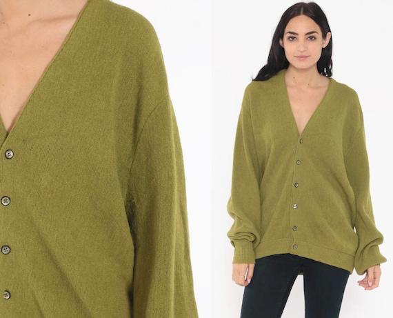 Alpaca Cardigan Sweater WOOL Cardigan 70s Olive Green Plain Knit Grunge Button Up Slouchy 1970s Grandpa Vintage Retro Large