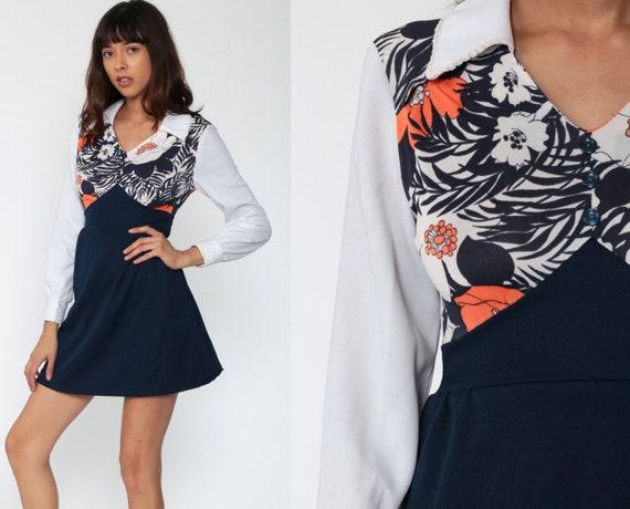 Floral Babydoll Dress 70s Mod Mini Long Sleeve Contrast Collar Empire Waist 60s Vintage Dolly Gogo Navy Blue Flower Print 1970s Boho Small