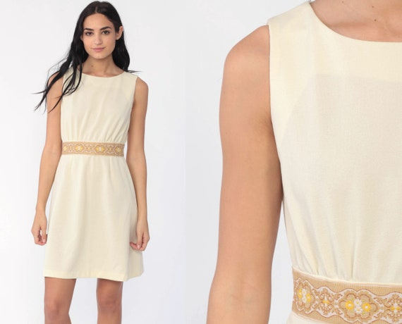 60s Mod Dress Cream Embroidered Trim Mod Mini High Waisted Vintage 70s Hippie Sleeveless 1970s Twiggy Gogo Polyester Extra Small xs s