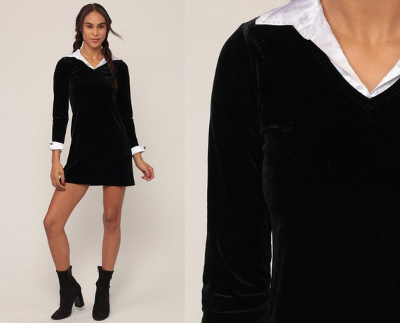 Velvet Mini Dress 90s Party Black Goth Wednesday Addams White Collar Shift Cocktail Long Sleeve Vintage Gothic Extra Small xs