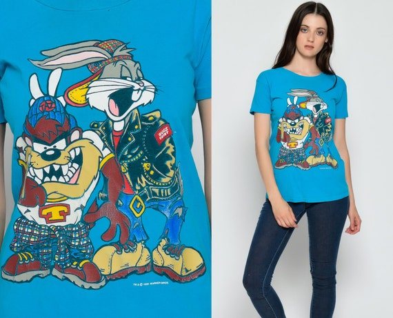 Bugs Bunny Shirt Looney Tunes Shirt Tasmanian Devil TAZ Tshirt Cartoon Grunge 90s Kid Urban Graphic Retro Vintage Tee T Shirt Medium Ha14XUosxe
