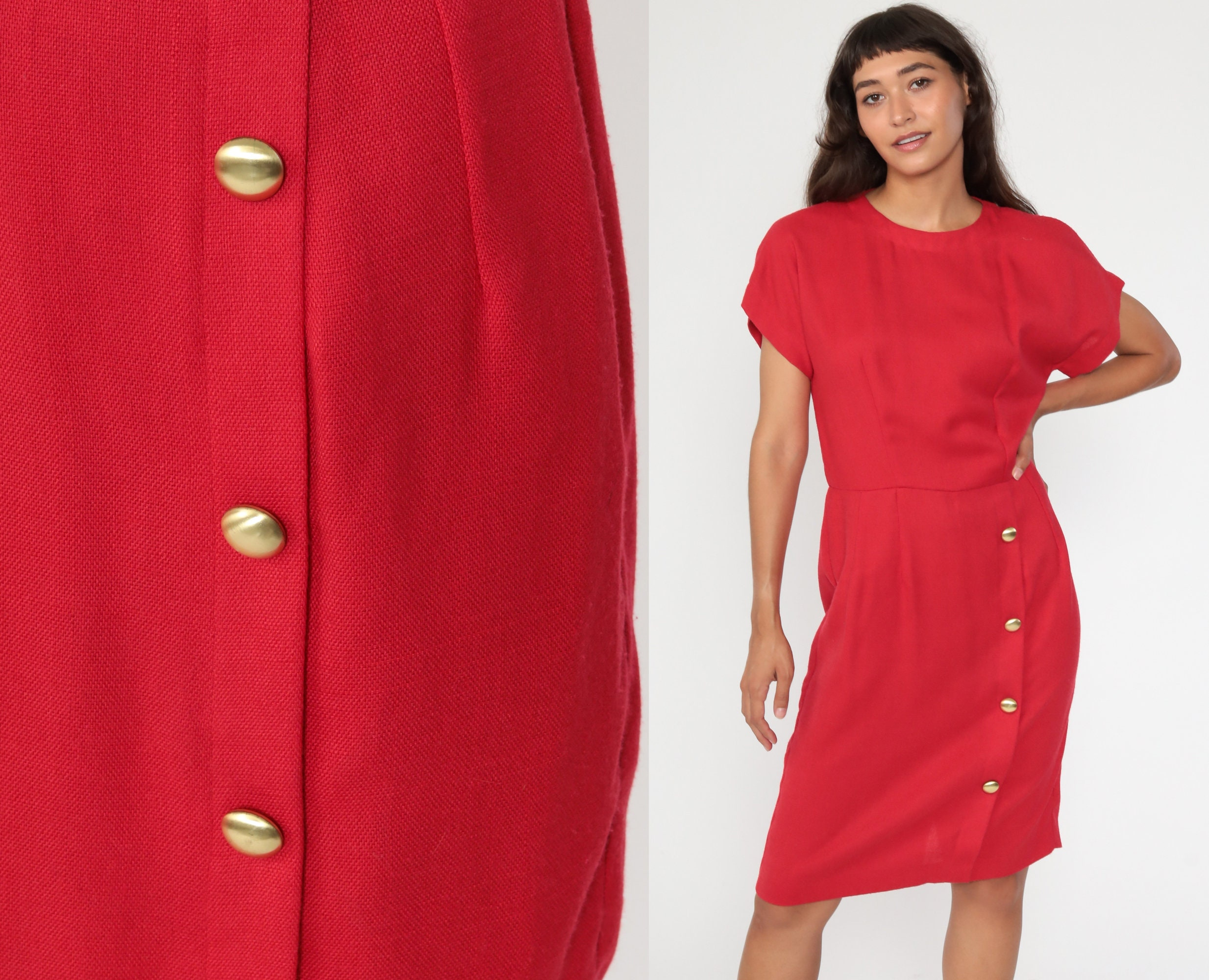 80s Dresses | Casual to Party Dresses Red Sheath Dress 80S Midi Button Skirt Vintage Wiggle Pencil 1980S Secretary Short Sleeve Fitted Rayon Medium 8 $39.20 AT vintagedancer.com