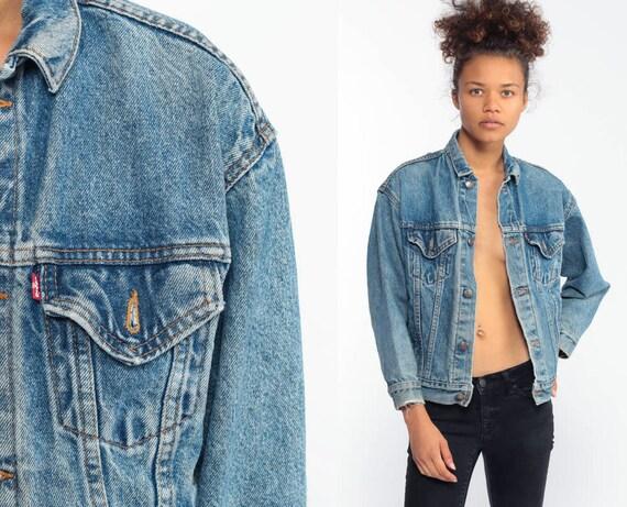 Levis Denim Jacket xs -- 90s Red Tab USA Jean Jacket 80s Denim Jacket Trucker Blue Levi Coat 1980s Levis Oversized Extra Small XS