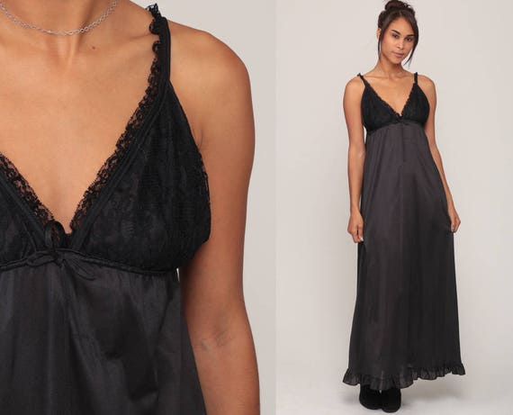Black Nightgown Slip Dress 70s Maxi LACE Boho Sheer Lingerie Goth Low Back Vintage 1970s Gothic Empire Waist Deep V Small