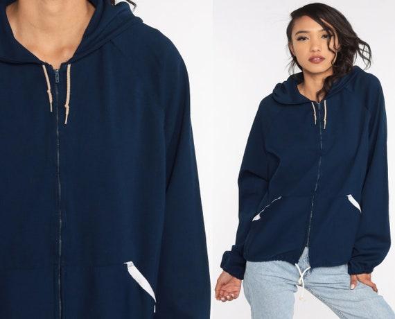 Hooded Jacket 70s Track Jacket Navy Blue Hoodie S… - image 1